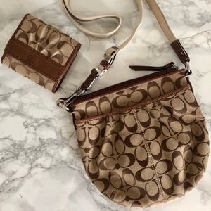Cloth Coach satchel with matching wallet